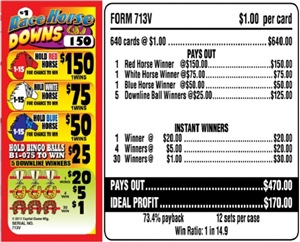 713V Race Horse Downs $1.00 Bingo Event Ticket