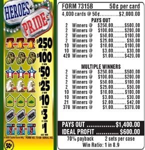 $250 TOP - Form # 7315B Heroes Pride 50 Cent Ticket