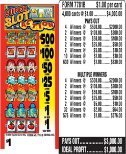$500 TOP - Form # 7781B Super Slot Action $1.00 Ticket