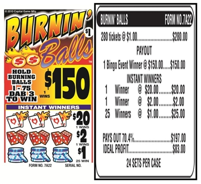 7A22 Burnin Balls $1.00 Bingo Event Ticket
