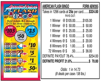 ABW265 American Flash Bingo $0.25 Bingo Event Ticket