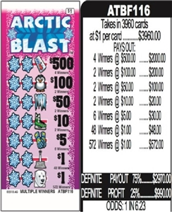 $500 TOP - Form # ATBF116 Arctic Blast $1.00 Ticket