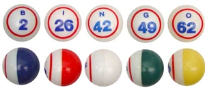 Bingo Balls - Multi-Colored Single Numbered