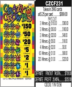 $150 TOP - Form # CZCF231 Crazy Crowns 25 Cent Ticket