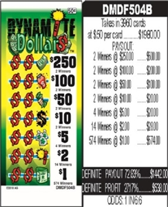$250 TOP - Form # DMDF504B Dynamite Dollars 50 Cent Ticket