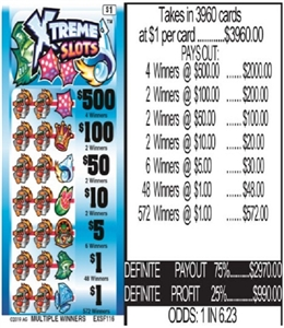 $500 TOP - Form # EXSF116 Xtreme Slots $1.00 Ticket