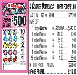 $500 TOP - Form # 4 Corner Diamonds $1.00 Bingo Event Ticket