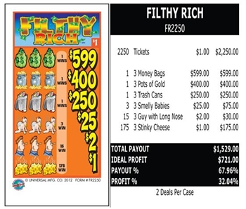 FR2250 Filthy Rich $1.00 Ticket