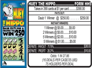 $250 TOP - Form # HH5 Huey The Hippo $1.00 Bingo Event Ticket