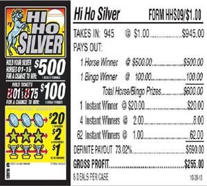 $500 TOP - Form # HHS09 Hi Ho Silver $1.00 Bingo Event Ticket