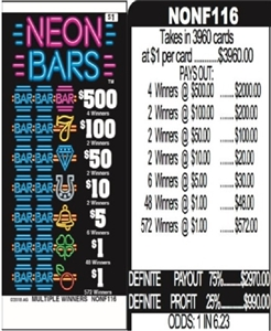 $500 TOP - Form # NONF116 Neon Bars $1.00 Ticket