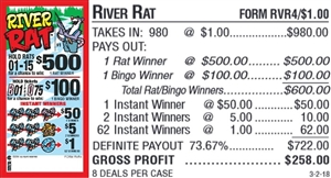 $500 TOP - Form # RVR4 River Rat $1.00 Bingo Event Ticket