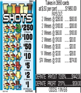 $250 TOP - Form #SHOF504B Shots 50 Cent Ticket