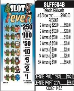 $250 TOP - Form # SLFF504B Slot Fever 50 Cent Ticket