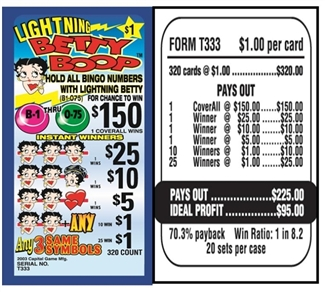 T333 Lightning Betty Boop $1.00 Bingo Event Ticket