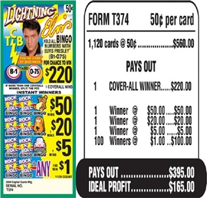 $220 TOP - Form # T374 Lightning Elvis $0.50 Bingo Event Ticket