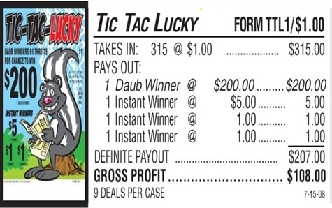 TTL1 Tic-Tac-Lucky$1.00 Bingo Event Ticket