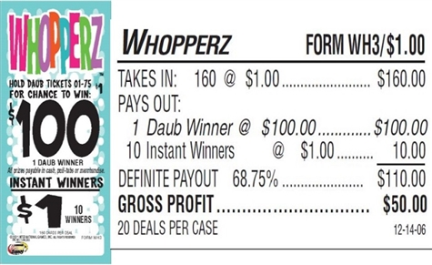 WH3 Whopperz $1.00 Bingo Event Ticket