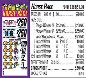 $250 TOP - Form # X88B Horse Race $1.00 Bingo Event Ticket