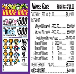 $500 TOP - Form # X88C Horse Race $1.00 Bingo Event Ticket