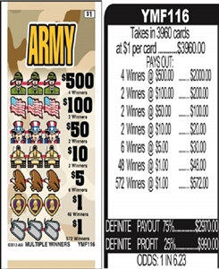 $500 TOP - Form # YMF116 Army $1.00 Ticket
