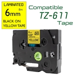 TZe-611 Black on Yellow