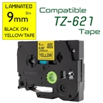 TZe-621 Black on Yellow