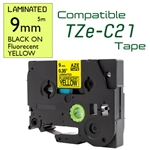 TZe-C21 Black on Fluorescent Yellow