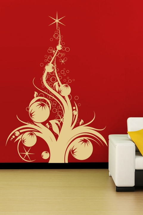 christmas wall decals tree with ornaments - Christmas Wall Decal