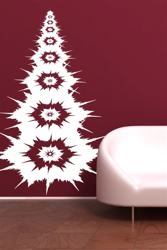 christmas wall decals tree and snowflakes - Christmas Wall Decal