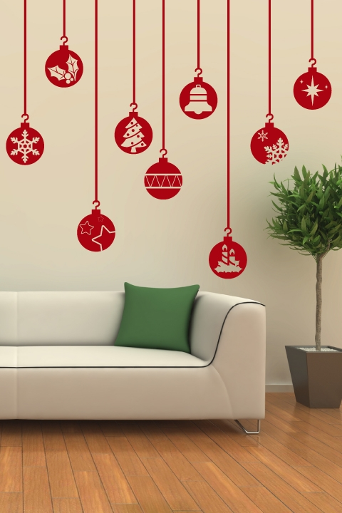 festive ornaments wall decal | christmas wall stickers