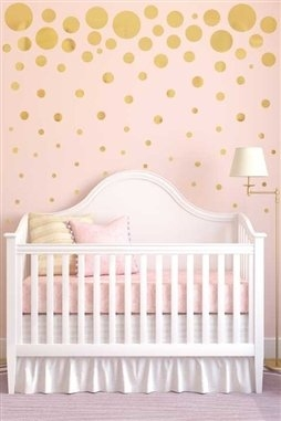 Polka Dot Wall Decals, DIY Confetti Gold/Silver Walltat.com. Create a DIY polka dot mural in reflective silver or gold vinyl. Festive pack of 76 confetti dots in 8 sizes for bedroom, dorm, nursery, kids room or party.