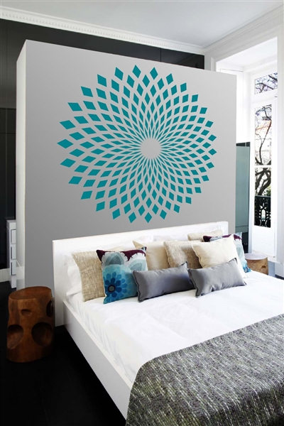 Wall Decals Diamond starburst mandala round large
