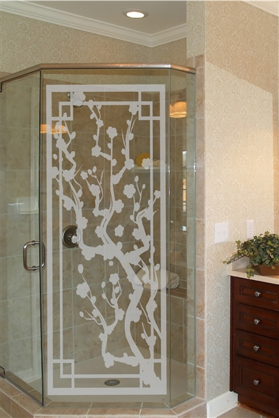 Japanese Plum Screen - Frosted Glass - Ornate Legacy Screen - Glass Decal