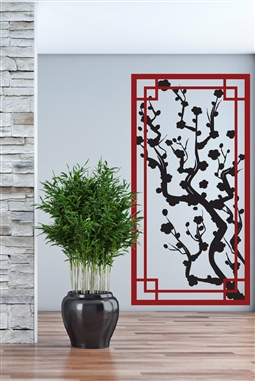 Wall Decals Japanese Plum Panel Screen - Ornamental Legacy Screen - Dual Color - 32 Colors - 5 Sizes