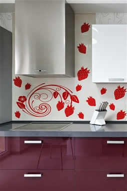 Modern Strawberry Vine - Floral Wall Embellishment - Accent Wall Decal - 32 Colors - 5 Sizes