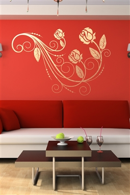 Rose on a Vine Wall Decal - Beauty In Nature - Modern Rose Sticker - Gold Metallic - Silver Metallic - 6 Sizes - Wall Sticker Embellishment - Floral Wall Decal