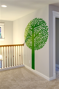 Sprouting Lush Tree - Tall Trunk Tree - Pine tree and Leaves - 32 colors - 6 sizes Wall Decals