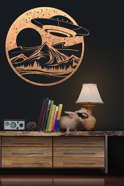 Wall Decals UFO Wall Decal - Flying Saucer Vinyl - Alien Spaceship Pop Art - Metallic - Gold Metallic - Silver Metallic - 6 Sizes