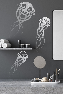 Jellyfish Abstract Wall Decal - Aquatic Sea Creatures - Stylish Sea Animals - Vinyl Ocean Sticker - Gold Metallic - Silver Metallic - 5 Sizes - 32 Colors