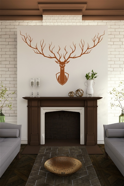 Mounted Deer Silhouette - Elegant Antlers - Hunting Trophy - Fireplace Mantle - 32 Colors - 6 Sizes