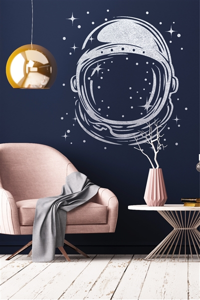 Astronaut Helmet Wall Decals - Galactic Space Pop Art - Gold Metallic - Silver Metallic - 5 Sizes