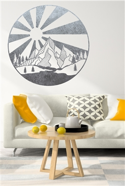 Mountain Sunrise Glory Wall Decal - Pop Art Mountain Vista - Symmetrical Wall Sticker - Gold Metallic - Silver Metallic - 5 Sizes| Walltat.com Silhouettes of barn swallows swoop and circle in this lively wall decal or anti-collision window sticker. Choose