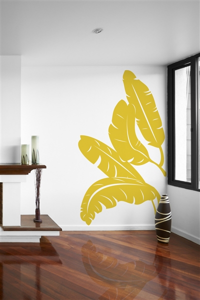 Banana Leaves Wall Embellishment - Tropical Plant Decal - 32 Colors - 6 Sizes