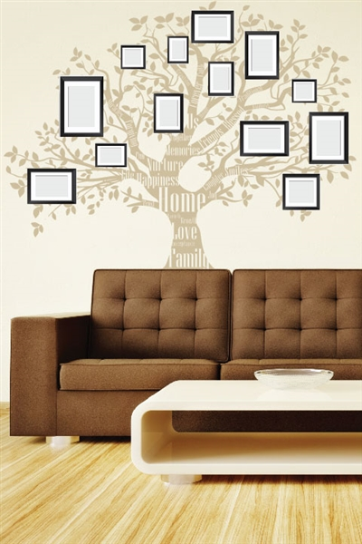 Wall Decals Family Tree 1 - Inspirational Word Mural - For Photo Picture Frames - Wall Decal -  Wall Decor