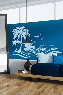 Wall Decals  Tropical Island Breeze and Sunset