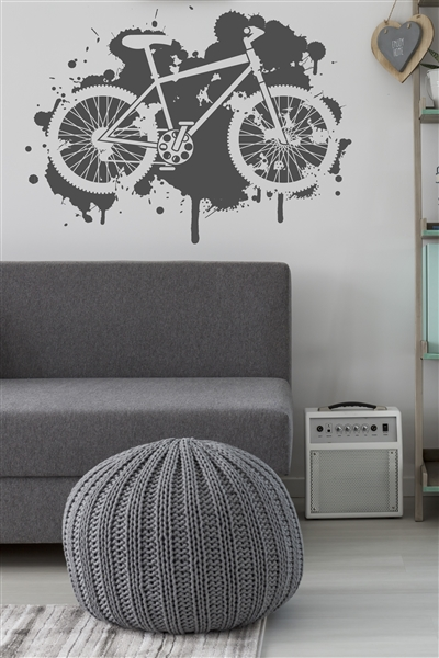 Mountain Bike Wall Decal Grunge Paint Splatter, 32 Colors | WALLTAT.com Grunge-inspired Mountain Bike Paint Splatter silhouettes a bicycle against a pop-art splat wall decal design. Boys room, girls room, classroom, mountain sports, fitness, trail riding