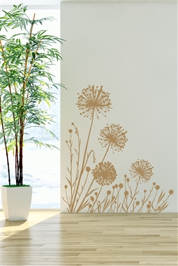 Dandelion- Corner Piece - Self Adhesive - Wall Art - Sticker -  Mural - Flower - Nature