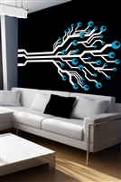 Geometric Tree Modern Wall Decal, 32 Custom Colors | Walltat.com Geometric Tree design branches out like a circuit board. 32 colors & metallics; 70's wall mural for a bedroom, dorm, office, boys room, girls room, entry, or hallway.