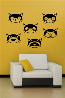 Wall Decals  - Cat Faces